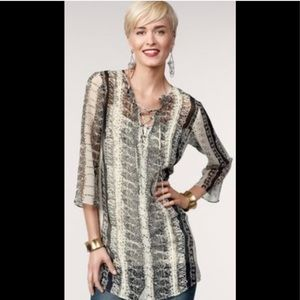 CAbi Sheer Lace Front Tunic